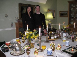 Engaged couple sit down to Easter Breakfast